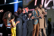 (L-R) Carrie Bernans, Winston Duke, Sterling K. Brown, Ryan Coogler, Chadwick Boseman, Michael B. Jordan accept the Outstanding Motion Picture award for 'Black Panther' onstage at the 50th NAACP Image Awards at Dolby Theatre on March 30, 2019 in Hollywood, California.