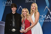 Shannon Campbell, Kim Campbell and Ashley Campbell pose in the media room during the 51st annual CMA Awards at the Bridgestone Arena on November 8, 2017 in Nashville, Tennessee.