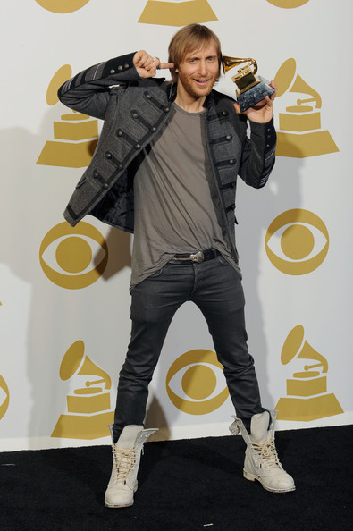 Musician David Guetta poses with Best Remixed Recording Non-Classical for 'When Love Takes Over' in the press room during the 52nd Annual GRAMMY Awards held at Staples Center on January 31, 2010 in Los Angeles, California.
