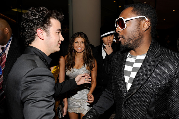 Singers Kevin Jonas, Fergie, Taboo and will.i.am arrive at the 52nd Annual GRAMMY Awards - Salute To Icons Honoring Doug Morris held at The Beverly Hilton Hotel on January 30, 2010 in Beverly Hills, California.