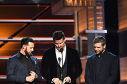 (L-R) A. J. Buckley, David Boreanaz, and Max Thieriot speak onstage during the 53rd Academy of Country Music Awards at MGM Grand Garden Arena on April 15, 2018 in Las Vegas, Nevada.