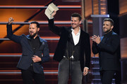 (L-R) A.J. Buckley, David Boreanaz and Max Thieriot present an award during the 53rd Academy of Country Music Awards at MGM Grand Garden Arena on April 15, 2018 in Las Vegas, Nevada.