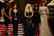(L-R) Singers Yolanda Adams, Martina McBride, Christina Aguilera, Jennifer Hudson and Florence Welch speak onstage during The 53rd Annual GRAMMY Awards held at Staples Center on February 13, 2011 in Los Angeles, California.