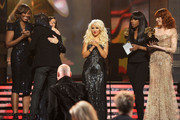Singers Yolanda Adams, Martina McBride, Christina Aguilera, Jennifer Hudson and Florence Welch present musician Patrick Monahan the  Best Pop Performance By A Duo Or Group With Vocals Award onstage during The 53rd Annual GRAMMY Awards held at Staples Center on February 13, 2011 in Los Angeles, California.