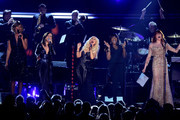 (L-R) Singers Yolanda Adams, Martina McBride, Christina Aguilera, Jennifer Hudson and Florence Welch perform onstage during The 53rd Annual GRAMMY Awards held at Staples Center on February 13, 2011 in Los Angeles, California.