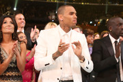 Hip-Hop artist Chris Brown attends the 55th Annual GRAMMY Awards at STAPLES Center on February 10, 2013 in Los Angeles, California.