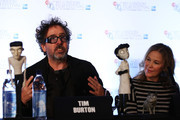 Filmmaker Tim Burton and actress Catherine O'Hara speak at the 'Frankenweenie 3D' press conference at the Corinthia Hotel London which, later tonight, opens the 56th BFI London Film Festival at Odeon Leicester Square on October 10, 2012 in London, England.