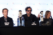 Actor Martin Short, filmmaker Tim Burton and actress Catherine O'Hara speak at the 'Frankenweenie 3D' press conference at the Corinthia Hotel London which, later tonight, opens the 56th BFI London Film Festival at Odeon Leicester Square on October 10, 2012 in London, England.