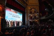 "(L-R) Kent Jones, Marcia Jean Kurtz, Emily Rios, Ed Skrein, Dominique Thorne, Ebony Obsidian, Finn Wittrock, Diego Luna, Teyonah Parris, Brian Tyree Henry, Colman Domingo, Stephan James, KiKi Layne, Regina King, and Barry Jenkins speak onstage at the ""If Beale Street Could Talk"" U.S. premiere Q&A during the 56th New York Film Festival at The Apollo Theater on October 09, 2018 in New York City."