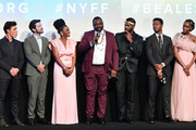 "(L-R) Finn Wittrock, Diego Luna, Teyonah Parris, Brian Tyree Henry, Colman Domingo, Stephan James, and KiKi Layne speak onstage at the ""If Beale Street Could Talk"" U.S. premiere Q&A during the 56th New York Film Festival at The Apollo Theater on October 09, 2018 in New York City."