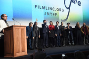 "Julian Schnabel speaks onstage with Willem Dafoe, Oscar Isaac, Rupert Friend, Stella Schnabel, Vladimir Consigny, Tatiana Lisovkaia, Benoit Delhomme, Louise Kugelberg and  Jean-Claude Carriere at the ""At Eternity's Gate"" premiere during the 56th New York Film Festival at Alice Tully Hall, Lincoln Center on October 12, 2018 in New York City."