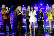 Phillip Sweet, Kimberly Schlapman, Jimi Westbrook and Karen Fairchild of musical group Little Big Town join Kelsea Ballerini onstage to present an award to Hillary Lindsey during the 57th Annual ASCAP Country Music Awards on November 11, 2019 in Nashville, Tennessee.