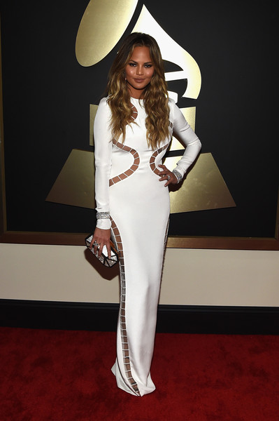 Model Chrissy  Teigen attends The 57th Annual GRAMMY Awards at the STAPLES Center on February 8, 2015 in Los Angeles, California.
