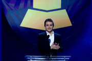 Recording artist Hunter Hayes speaks onstage during the The 57th Annual GRAMMY Awards Premiere Ceremony at Nokia Theatre L.A. Live on February 8, 2015 in Los Angeles, California.