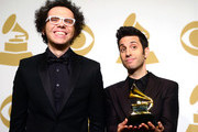 Musicians Ian Axel (L) and Chad Vaccarino, winners of Best Pop Duo/Group Performance for 'Say Something,' pose in the press room during The 57th Annual GRAMMY Awards at the STAPLES Center on February 8, 2015 in Los Angeles, California.