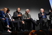 """(L-R) Jane Rosenthal, Joe Pesci, Al Pacino, Robert De Niro, and Martin Scorsese at """"The Irishman"""" press conference during the 57th New York Film Festival at Alice Tully Hall, Lincoln Center on September 27, 2019 in New York City."""
