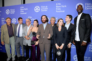 """Judd Hirsch, Adam Sandler,   Mike Francesa, Noa Fisher, Josh Safdie, Eric Bogosian, Julia Fox, Benny Safdie, and Kevin Garnett attend the """"Uncut Gems"""" premiere during the 57th New York Film Festival at Alice Tully Hall, Lincoln Center on October 03, 2019 in New York City."""