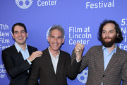 """Directors Benny Safdie (L) and Josh Safdie (R) and writer Ronald Bronstein (C) attend the """"Uncut Gems"""" premiere during the 57th New York Film Festival at Alice Tully Hall, Lincoln Center on October 03, 2019 in New York City."""