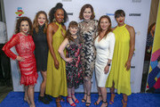 Madeline Di Nonno, Jordana Spiro, Sydelle Noel, Jamie Brewer, Geena Davis, Wendy Guerrero and Jackie Cruz walk the blue carpet at the Geena and Friends event at the Crystal Bridges Museum of American Art on May 08, 2019 in Bentonville, Arkansas.