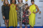 Jordana Spiro, Sydelle Noel, Geena Davis, Jamie Brewer and Jackie Cruz walks the blue carpet at the Geena and Friends event at the Crystal Bridges Museum of American Art on May 08, 2019 in Bentonville, Arkansas.