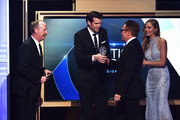 """Actor Bradley Whitford (R) accepts the Best Guest Performer in a Comedy Series award for """"Transparent"""" from actors Matt Walsh and Timothy Simons onstage at the 5th Annual Critics' Choice Television Awards at The Beverly Hilton Hotel on May 31, 2015 in Beverly Hills, California."""