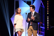 Actress Kat Graham (L) and internet personality Philip DeFranco speak on stage VH1's 5th Annual Streamy Awards at the Hollywood Palladium on Thursday, September 17, 2015 in Los Angeles, California.