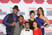 (Clockwise from top left) Actors Chico Benymon, Curtis Harris Jr., Amber Montana, Ginifer King, Breanna Yde, and Benjamin Flores Jr. arrive at the 5th Annual TeenNick HALO Awards at Hollywood Palladium on November 17, 2013 in Hollywood, California.