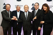 (L-R) Darrell Friedman, President's Merit Award Winner Allen Grubman, President and CEO, Recording Academy, Board Chair, GRAMMY Museum® Neil Portnow, 2018 Entertainment Law Initiative Service award recipient Michael Reinert, and Laura Segura Mueller attend The Recording Academy's 20th annual Entertainment Law Initiative® Event & Scholarship Presentation on January 26, 2018 at New World Stages at Worldwide Plaza in New York City. For more information, visit www.grammy.com/entertainment-law-initiative.