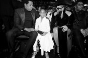Image has been converted to black and white.)  (L-R) Recording artist Jay-Z, Blue Ivy Carter and recording artist Beyonce attend the 60th Annual GRAMMY Awards at Madison Square Garden on January 28, 2018 in New York City.
