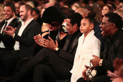 Recording artists Beyonce, Jay Z and their daughter Blue Ivy Carter attend the 60th Annual GRAMMY Awards at Madison Square Garden on January 28, 2018 in New York City.