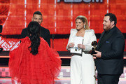 (L-R) Kacey Musgraves accepts the Best Country Album award for 'Golden Hour' from Kane Brown, Meghan Trainor, and Luke Combs onstage during the 61st Annual GRAMMY Awards at Staples Center on February 10, 2019 in Los Angeles, California.