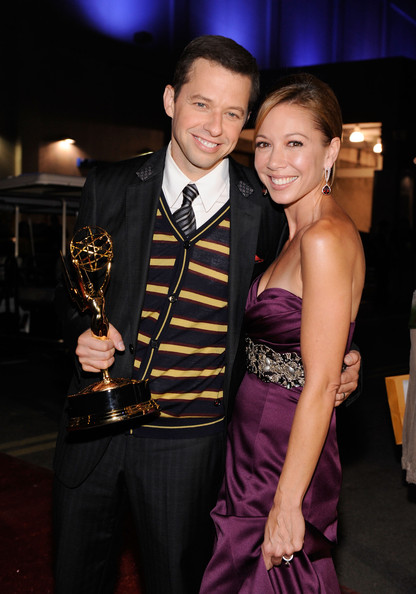 Jon Cryer Actor Jon Cryer (L) and wife Lisa Joyner backstage at the 61st Primetime Emmy Awards held at the Nokia Theatre on September 20, 2009 in Los Angeles, California.