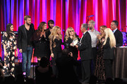 (L-R) Singers Vanessa Carlton, Charles Kelley, Hillary Scott, Dave Haywood, Shakira, Del Bryant, BMI President, singers Adam Levine of Maroon 5, Sheryl Crow,  Barbara Cane, BMI VP & General Manager, Writer/Publisher Relations and Michael O'Neill, BMI CEO present the 2014 BMI Icon Award to singer-songwriter Stevie Nicks (center) onstage at the 62nd annual BMI Pop Awards at the Regent Beverly Wilshire Hotel on May 13, 2014 in Beverly Hills, California.
