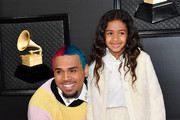 (L-R) Chris Brown and Royalty Brown attend the 62nd Annual GRAMMY Awards at Staples Center on January 26, 2020 in Los Angeles, California.
