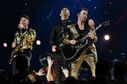(L-R) Nick Jonas, Joe Jonas, and Kevin Jonas of music group Jonas Brothers perform onstage during the 62nd Annual GRAMMY Awards at STAPLES Center on January 26, 2020 in Los Angeles, California.