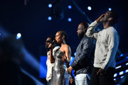 (L-R) Nathan Morris, Alicia Keys, Wanya Morris, and Shawn Stockman perform onstage during the 62nd Annual GRAMMY Awards at STAPLES Center on January 26, 2020 in Los Angeles, California.