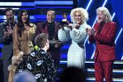 "Billie Eilish and Finneas O'Connell accept the Song Of The Year award for ""Bad Guy"" from  Smokey Robinson with Jimi Westbrook, Karen Fairchild, Kimberly Schlapman and Phillip Sweet of Little Big Town onstage during the 62nd Annual GRAMMY Awards at Staples Center on January 26, 2020 in Los Angeles, California."