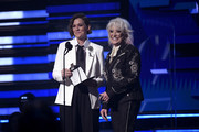 (L-R) Brandi Carlile and Tanya Tucker speak onstage during the 62nd Annual GRAMMY Awards at Staples Center on January 26, 2020 in Los Angeles, California.