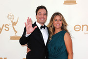 Comedian Jimmy Fallon and producer Nancy Juvonen arrive at the 63rd Annual Primetime Emmy Awards held at Nokia Theatre L.A. LIVE on September 18, 2011 in Los Angeles, California.
