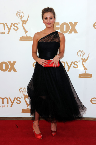 Actress Kaley Cuoco arrives at the 63rd Annual Primetime Emmy Awards held at Nokia Theatre L.A. LIVE on September 18, 2011 in Los Angeles, California.