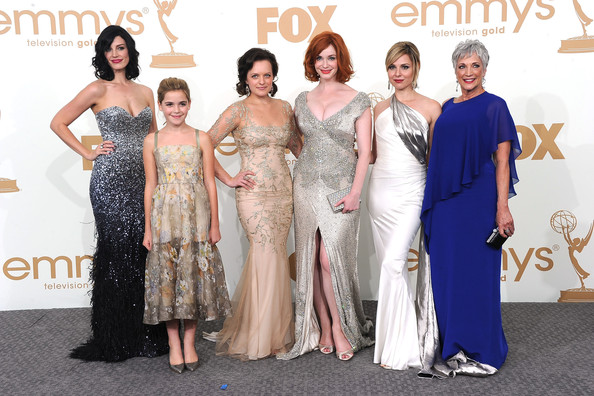 (L-R) Jessica Pare, Kiernan Shipka, Elisabeth Moss, Christina Hendricks, Cara Buono and Randee Heller of 'Mad Men' pose in the press room after winning Outstanding Drama Series during the 63rd Annual Primetime Emmy Awards held at Nokia Theatre L.A. LIVE on September 18, 2011 in Los Angeles, California.