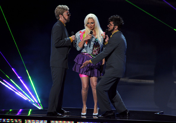 Actors Akiva Schaffer, Maya Rudolph, and Andy Samberg perform onstage during the 63rd Annual Primetime Emmy Awards held at Nokia Theatre L.A. LIVE on September 18, 2011 in Los Angeles, California.