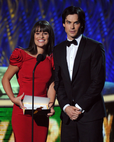 Actors Lea Michele (L) and Ian Somerhalder speak onstage during the 63rd Annual Primetime Emmy Awards held at Nokia Theatre L.A. LIVE on September 18, 2011 in Los Angeles, California.