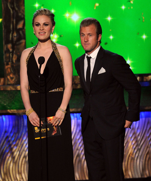 Actors Anna Paquin (L) and Scott Caan speak onstage during the 63rd Annual Primetime Emmy Awards held at Nokia Theatre L.A. LIVE on September 18, 2011 in Los Angeles, California.