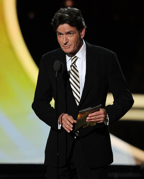 Actor Charlie Sheen speaks onstage during the 63rd Annual Primetime Emmy Awards held at Nokia Theatre L.A. LIVE on September 18, 2011 in Los Angeles, California.