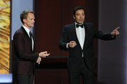 Host Neil Patrick Harris and Jimmy Fallon onstage during the 65th Annual Primetime Emmy Awards held at Nokia Theatre L.A. Live on September 22, 2013 in Los Angeles, California.