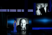 Actress Edie Falco pays tribute to the late James Gandolfini onstage during the 65th Annual Primetime Emmy Awards held at Nokia Theatre L.A. Live on September 22, 2013 in Los Angeles, California.