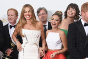 "Actresses Sofía Vergara (L) and Sarah Hyland, winners of the Outstanding Comedy Series Award for ""Modern Family"" pose in the press room during the 66th Annual Primetime Emmy Awards held at Nokia Theatre L.A. Live on August 25, 2014 in Los Angeles, California."
