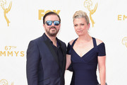 Actor/comedian Ricky Gervais (L) and Jane Fallon attend the 67th Annual Primetime Emmy Awards at Microsoft Theater on September 20, 2015 in Los Angeles, California.