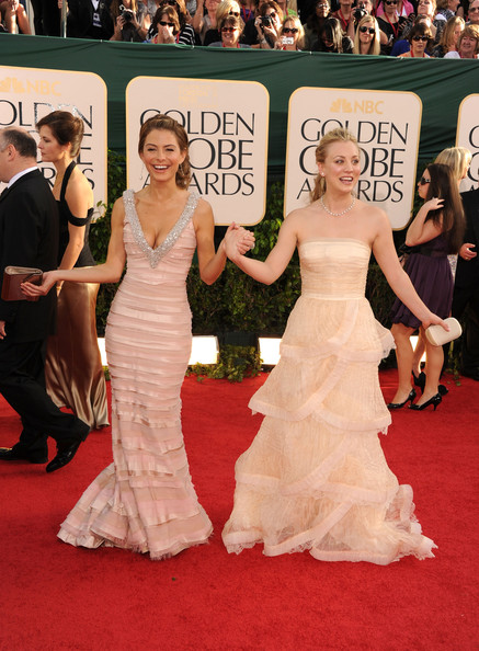 TV personality Maria Menounos and actress Kaley Cuoco arrive at the 68th Annual Golden Globe Awards held at The Beverly Hilton hotel on January 16, 2011 in Beverly Hills, California.